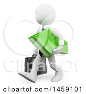 Poster, Art Print Of 3d White Business Man Carrying A Green Arrow On A White Background