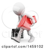 Poster, Art Print Of 3d Sad White Business Man Carrying A Red Arrow On A White Background