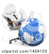 Clipart Of A 3d White Business Man Resting His Feet On A Globe On A White Background Royalty Free Illustration