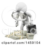 Poster, Art Print Of 3d White Business Man Inspecting Money On A White Background