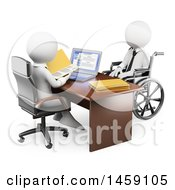 Clipart Of A 3d White Handicap Business Man At A Job Interview On A White Background Royalty Free Illustration