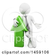 Poster, Art Print Of 3d White Business Man Standing By A Green Arrow On A White Background