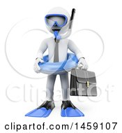 Clipart Of A 3d White Business Man In Snorkel Gear On A White Background Royalty Free Illustration