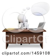 Clipart Of A 3d White Business Man Thinking At A Desk On A White Background Royalty Free Illustration