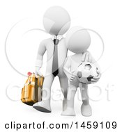 Clipart Of A 3d White Business Man Walkibg His Son To Soccer Practice On A White Background Royalty Free Illustration