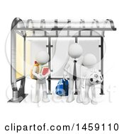 Clipart Of A 3d White Business Man With Kids At A Bus Stop On A White Background Royalty Free Illustration