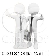 Clipart Of A 3d White Business Man Pointing Outwards By A Life Size Cardboard Cutout Of Himself On A White Background Royalty Free Illustration