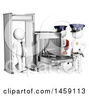 Clipart Of A 3d White Business Man Walking Through A Security Detector On A White Background Royalty Free Illustration