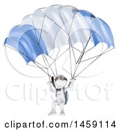3d White Business Man Parachuting On A White Background