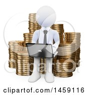 Poster, Art Print Of 3d White Business Man Using A Laptop On A Stack Of Coins On A White Background
