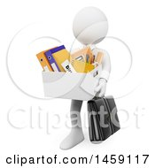 Clipart Of A 3d Fired White Business Man On A White Background Royalty Free Illustration