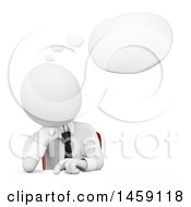 Clipart Of A 3d White Business Man Thinking On A White Background Royalty Free Illustration