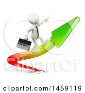 Clipart Of A 3d White Business Man Riding A Growth Arrow On A White Background Royalty Free Illustration