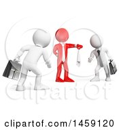 Clipart Of A 3d Red Business Man Starting A Fight Between Two White Guys On A White Background Royalty Free Illustration