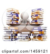 3d White Business Man Sitting Stressed At A Desk With Books On A White Background