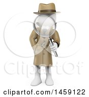 3d White Man Detective Holding A Magnifying Glass On A White Background