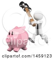 Poster, Art Print Of 3d White Business Man Chasinga Piggy Bank With A Hammer On A White Background