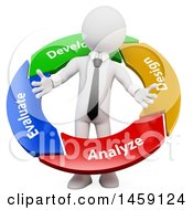 Clipart Of A 3d White Business Man In A Management Cycle Circle On A White Background Royalty Free Illustration