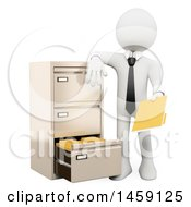 Clipart Of A 3d White Business Man Filing A Folder On A White Background Royalty Free Illustration