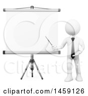 Clipart Of A 3d White Business Man Presenting A Projection Screen On A White Background Royalty Free Illustration