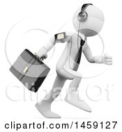 Clipart Of A 3d White Business Man Running With An Mp3 Player On A White Background Royalty Free Illustration