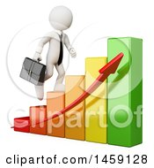 Clipart Of A 3d White Business Man Climbing A Growing Bar Graph On A White Background Royalty Free Illustration