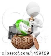 Clipart Of A 3d White Business Man Charming An Arrow Snake Symbolizing The Economy On A White Background Royalty Free Illustration