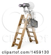Clipart Of A 3d White Business Man Using Binoculars On A Ladder On A White Background Royalty Free Illustration