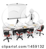 Clipart Of A 3d White Business Man Giving A Presentation To Students On A White Background Royalty Free Illustration