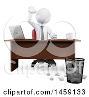 Clipart Of A 3d White Business Man Tossing Garbage Into A Trash Bin On A White Background Royalty Free Illustration