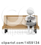 Clipart Of A 3d White Business Man Looking For A Job In The Newspaper On A White Background Royalty Free Illustration by Texelart
