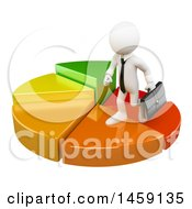 Poster, Art Print Of 3d White Business Man On A Growing Pie Chart On A White Background