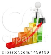 Poster, Art Print Of 3d White Business Man Giving A Thumb Up And Sitting On A Colorful Growth Bar Graph On A White Background