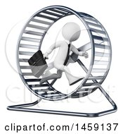 Clipart Of A 3d White Business Man Running In A Hamster Wheel On A White Background Royalty Free Illustration