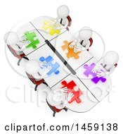 Clipart Of A 3d Team Of White Business Men With Colorful Puzzle Pieces At A Meeting Table On A White Background Royalty Free Illustration