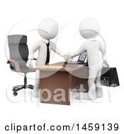 Clipart Of 3d White Business Men Shaking Hands Over A Desk On A White Background Royalty Free Illustration