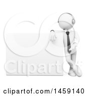 Clipart Of A 3d White Business Man Customer Service Operator Presenting A Blank Sign On A White Background Royalty Free Illustration
