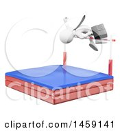 Clipart Of A 3d White Business Man Doing A High Jump On A White Background Royalty Free Illustration by Texelart