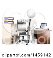 Clipart Of A 3d White Business Man Welcoming Someone To Their New Office On A White Background Royalty Free Illustration