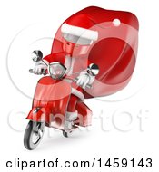 Clipart Of A 3d White Man Santa Riding A Scooter On A White Background Royalty Free Illustration by Texelart