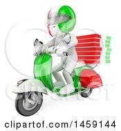 Clipart Of A 3d White Man Delivering Pizzas On A Scooter On A White Background Royalty Free Illustration