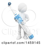 Clipart Of A 3d White Man With An Electric Toothbrush On A White Background Royalty Free Illustration