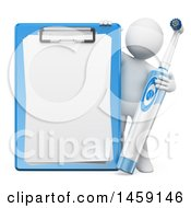 Clipart Of A 3d White Man Dentist With An Electric Toothbrush And Clipboard On A White Background Royalty Free Illustration