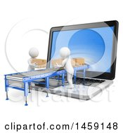 Clipart Of 3d White Men Loading Packages Through A Laptop Screen On A White Background Royalty Free Illustration