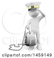 Clipart Of A 3d White Man Saluting And Holding Dog Tags On A White Background Royalty Free Illustration