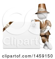 Poster, Art Print Of 3d White Man Thanksgiving Pilgrim With A Blank Sign On A White Background