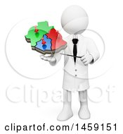 Clipart Of A 3d White Man Geography Teacher Holding A Map On A White Background Royalty Free Illustration