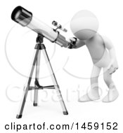 Poster, Art Print Of 3d White Man Looking Through A Telescope On A White Background