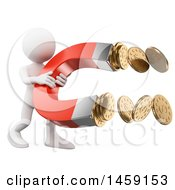 Poster, Art Print Of 3d White Man Grabbing Coins With A Magnet On A White Background
