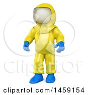 Clipart Of A 3d White Man In A Biohazard Suit On A White Background Royalty Free Illustration